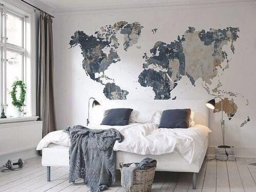 نقاشی یا پوستر نقشه جهان