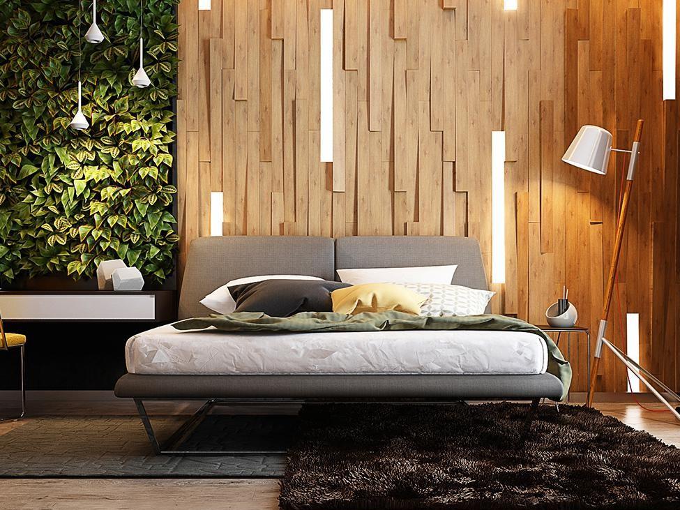 استفاده از چوب طبیعی برای تزیین دیوار اتاق خواب