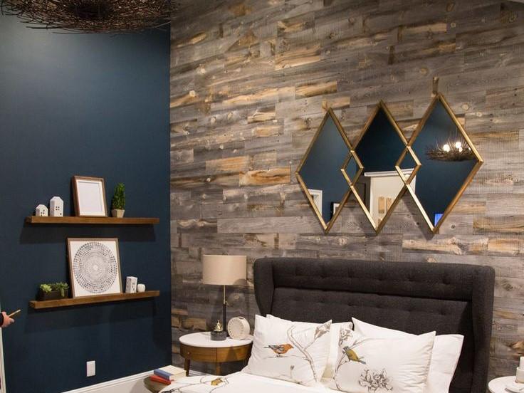 استفاده از چوب برای تزیین دیوار اتاق خواب