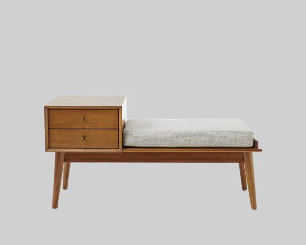 نیمکت چوبی با روکش پارچه Acorn