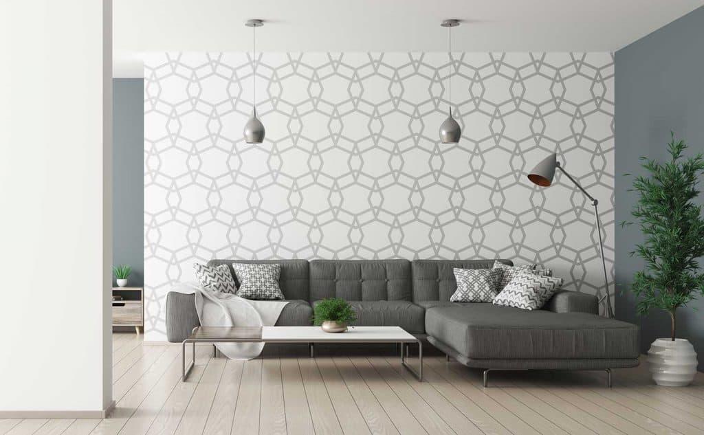تزیین دیوار اتاق پذیرایی با کاغذ دیواری