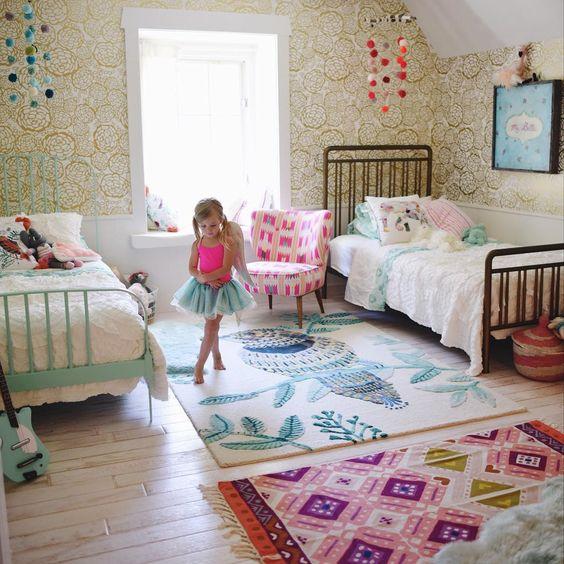 طراحی اتاق خواب دخترانه مشترک