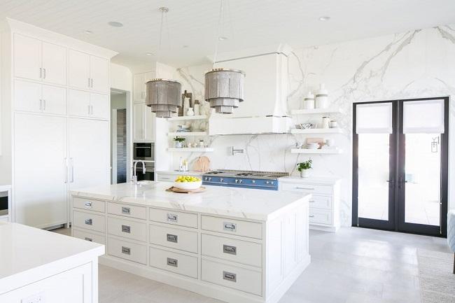 اپن آشپزخانه سفید رنگ