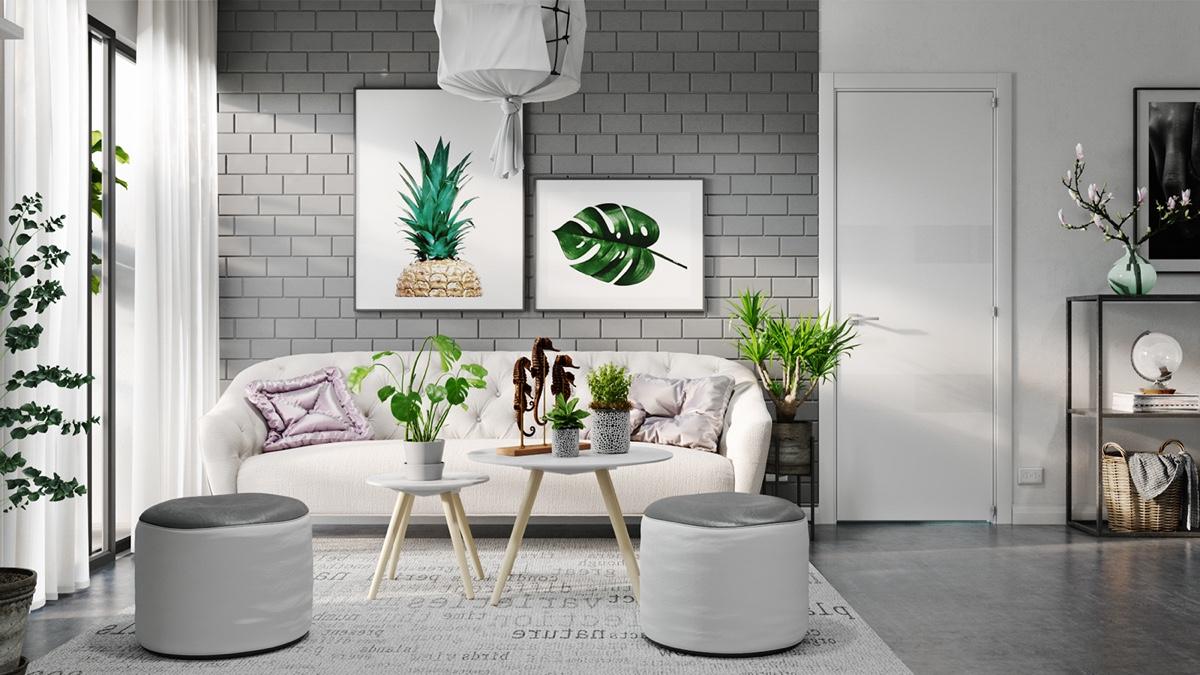 ترکیب رنگ طوسی در طراحی منزل